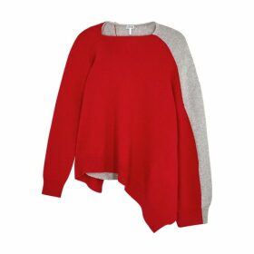 Loewe Red And Grey Asymmetric Wool-blend Jumper