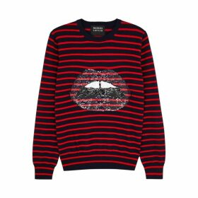 Markus Lupfer Mia Striped Embellished Wool Jumper
