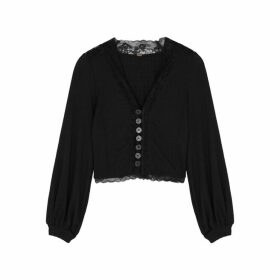 Free People Run With Me Black Cotton-blend Cardigan