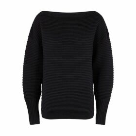 Victoria, Victoria Beckham Midnight Blue Ribbed Wool Jumper