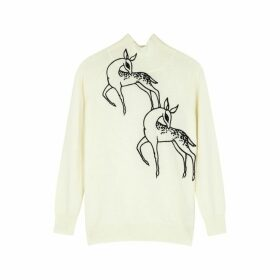 Victoria, Victoria Beckham Off-white Embroidered Wool Jumper