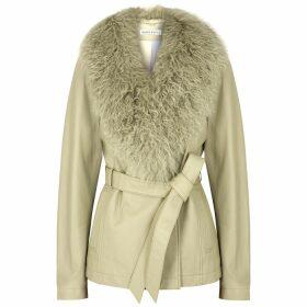 Saks Potts Ritual Sage Shearling-trimmed Leather Jacket
