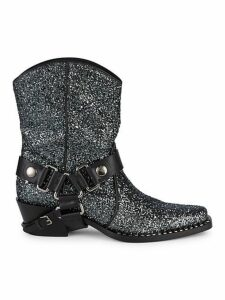 Embellished Glitter Leather Booties