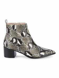 Emerson Snake-Print Leather Ankle Boots