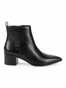 Emerson Croc-Embossed Leather Ankle Boots