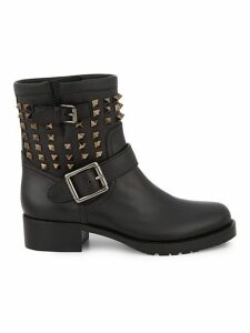 Biker Studded Leather Booties