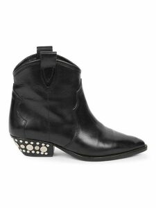 Dawyna Leather Western Ankle Boots