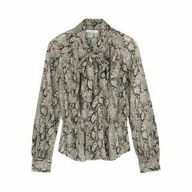 Frame Denim Brown Snake-print Silk Blouse