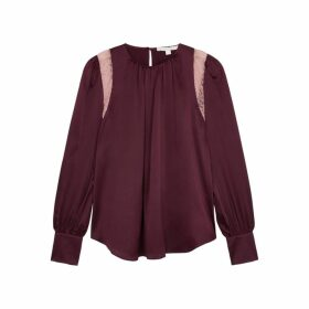 Jonathan Simkhai Burgundy Lace And Silk-blend Blouse