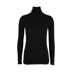 ATM Anthony Thomas Melillo Black Ribbed Jersey Top