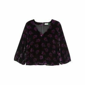 RIXO Millie Black Floral-print Velvet Top