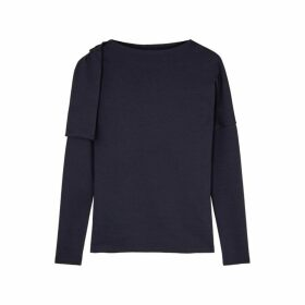 Victoria, Victoria Beckham Navy Bow-embellished Stretch-jersey Top