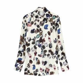 Victoria, Victoria Beckham Crystal-print Satin Shirt