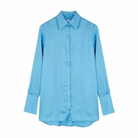 Victoria, Victoria Beckham Light Blue Satin Shirt