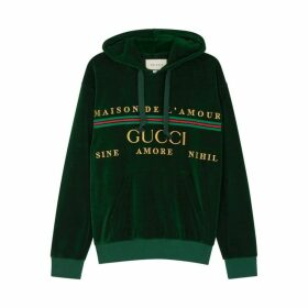 Gucci Green Embroidered Velour Sweatshirt
