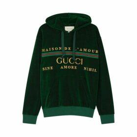 Gucci Green Embroidered Velour Sweatshirt