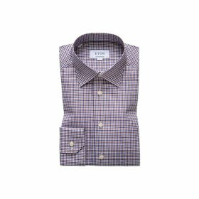 Eton Brown & Navy Check Twill Shirt - Contemporary Fit
