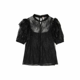 Free People Secret Admirer Black Lace Top