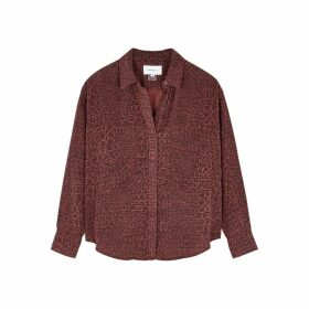 Current/Elliott Percy Road Red Crocodile-print Blouse