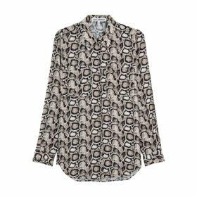 Good American Snake-print Chiffon Shirt