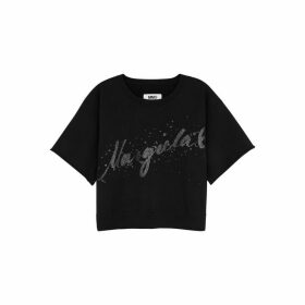 MM6 By Maison Margiela Black Printed Cotton Sweatshirt