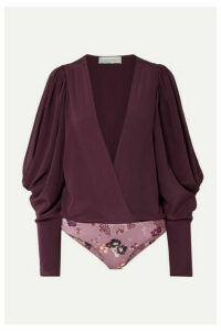 Silvia Tcherassi - Drew Wrap-effect Cold-shoulder Silk-georgette And Stretch-jersey Bodysuit - Grape