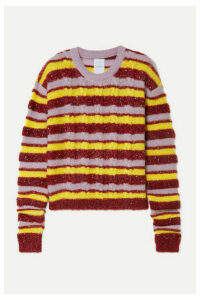 Ashish - Metallic Striped Cable-knit Mohair-blend Sweater - Red