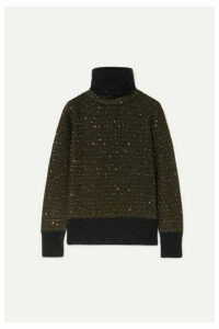 Akris - Sequined Metallic Cashmere-blend Turtleneck Sweater - Black