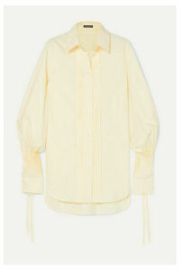 Ann Demeulemeester - Pintucked Striped Cotton-poplin Shirt - Yellow