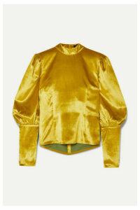 De La Vali - Jane Button-embellished Velvet Top - Chartreuse
