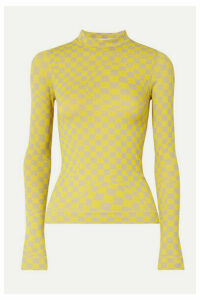 Off-White - Checked Stretch-jersey Top - Yellow