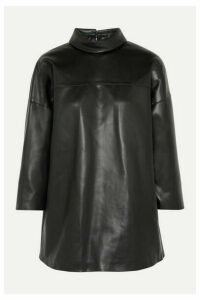 we11done - Faux Leather Turtleneck Top - Black