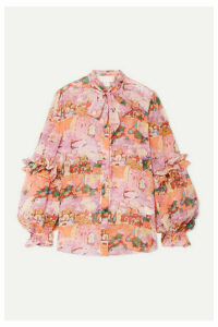 Peter Pilotto - Pussy-bow Ruffled Printed Silk-georgette Blouse - Pink