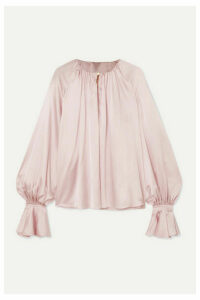 Roksanda - Pia Gathered Silk-satin Blouse - Pastel pink
