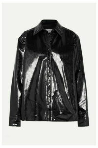 we11done - Snake-effect Faux Patent-leather Shirt - Black