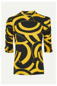 De La Vali - Bambino Ruched Printed Stretch-jersey Top - Black