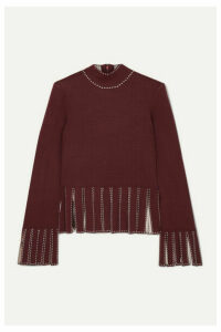 STAUD - Mika Cropped Fringed Stretch-knit Top - Merlot