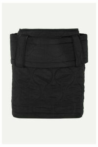 House of Holland - Belted Quilted Ripstop Mini Skirt - Black
