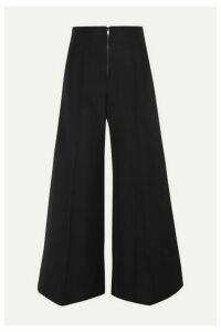 Kwaidan Editions - Bonded Wool And Cotton-blend Wide-leg Pants - Black