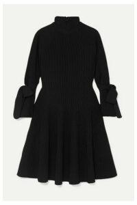 Carolina Herrera - Bow-detailed Ribbed-knit Mini Dress - Black