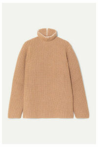 Loewe - Faux Pearl-embellished Ribbed Cashmere Turtleneck Sweater - Camel