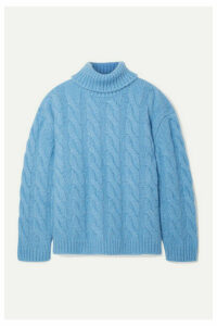 Mansur Gavriel - Oversized Cable-knit Alpaca-blend Turtleneck Sweater - Light blue
