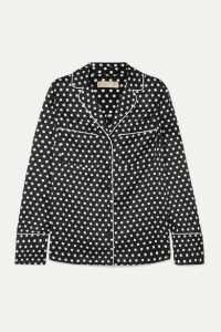 MICHAEL Michael Kors - Polka-dot Hammered-satin Shirt - Black