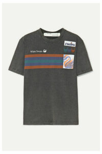 Off-White - Printed Washed-cotton Jersey T-shirt - Anthracite