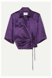 Nanushka - Dalas Washed-satin Wrap Blouse - Purple