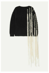 Loewe - Fringed Cable-knit Wool-blend Sweater - Black