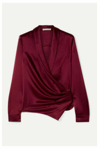Alice + Olivia - Aurora Gathered Satin Wrap Blouse - Claret