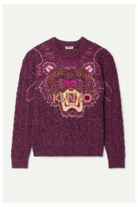 KENZO - Appliquéd Mélange Wool And Cotton-blend Sweater - Fuchsia