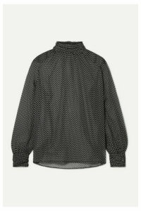 Nili Lotan - Alana Polka-dot Silk-chiffon Turtleneck Blouse - Black