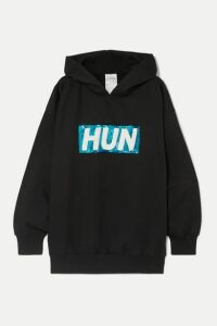 Ashish - Oversized Sequin-embellished Cotton-blend Jersey Hoodie - Black